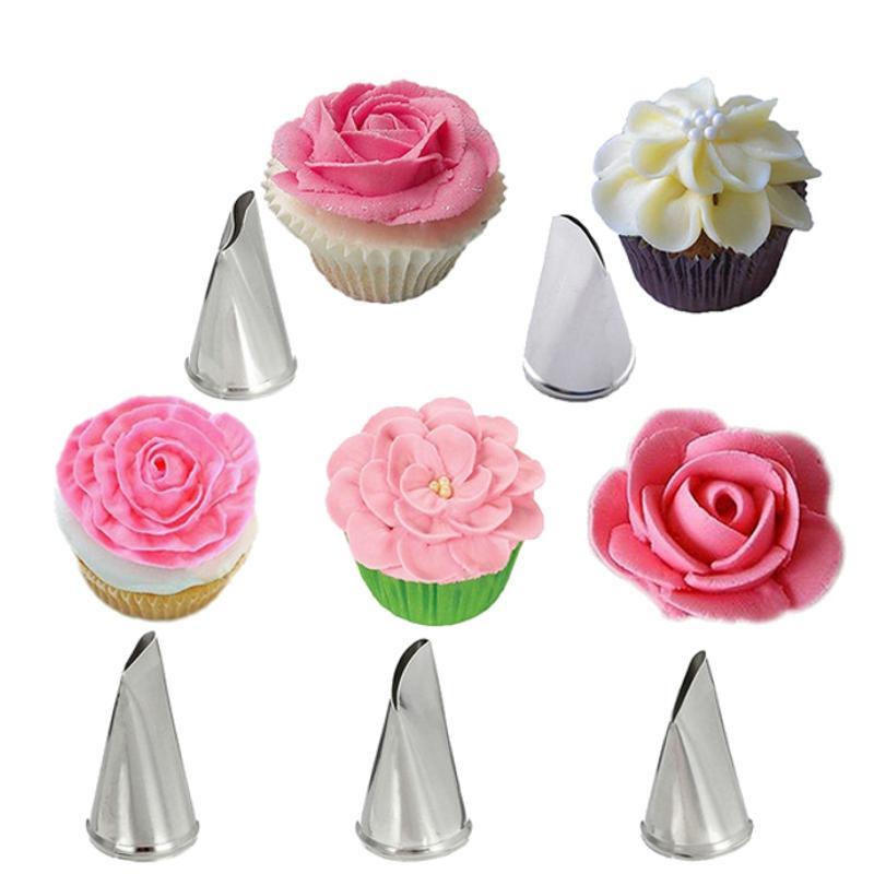 5 개 세트 장미 꽃잎 장식 배관 노즐 금속 크림 팁 케이크 꾸미기 컵 케이크 과자 도구