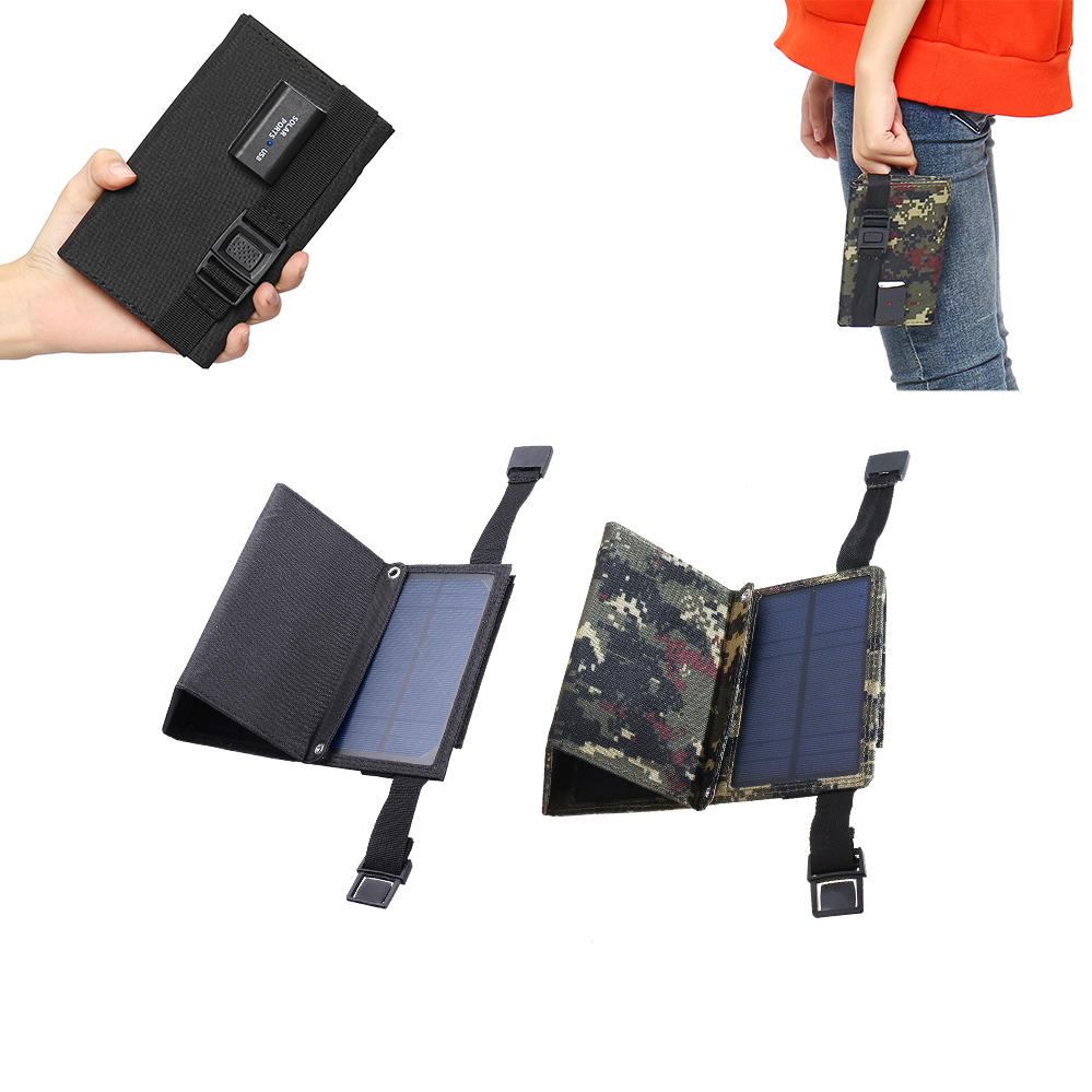 Camouflage/Black 7W  5.5V Folding Monocrystalline Silicon Solar Panel With Two Carabiner+USB Port