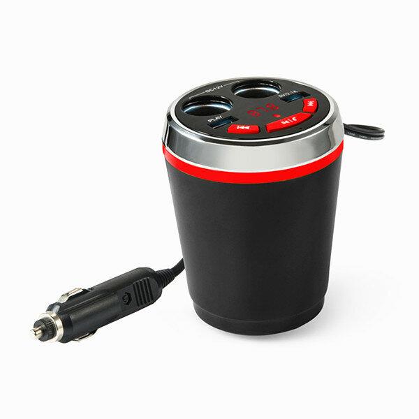 Bluetooth sans fil fm voiture allume-cigare double usb chargeur prise porte-gobelet adaptateur appel mains-libres