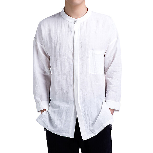 fc4998e15e54 Minimalist Chinese Style Linen Vintage Casual Loose Pure Color Long Sleeve  Shirts for Men - Dark Blue S COD