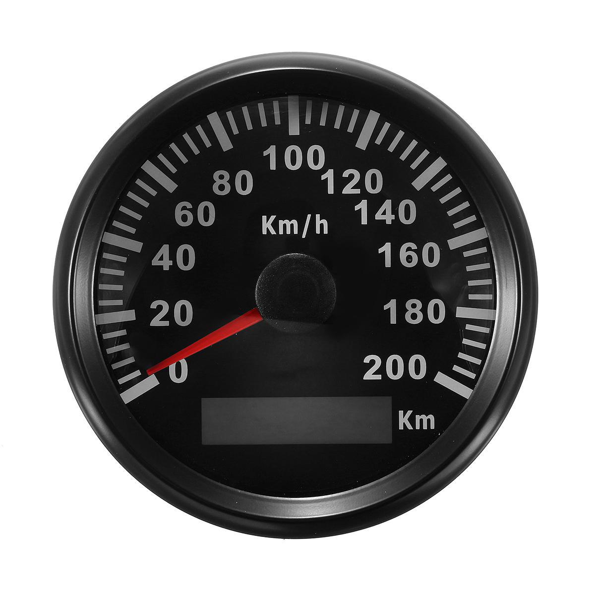 85mm 200 KM / H Roestvrij GPS Speedometer Waterdichte Digitale Meters Auto Motorcucle