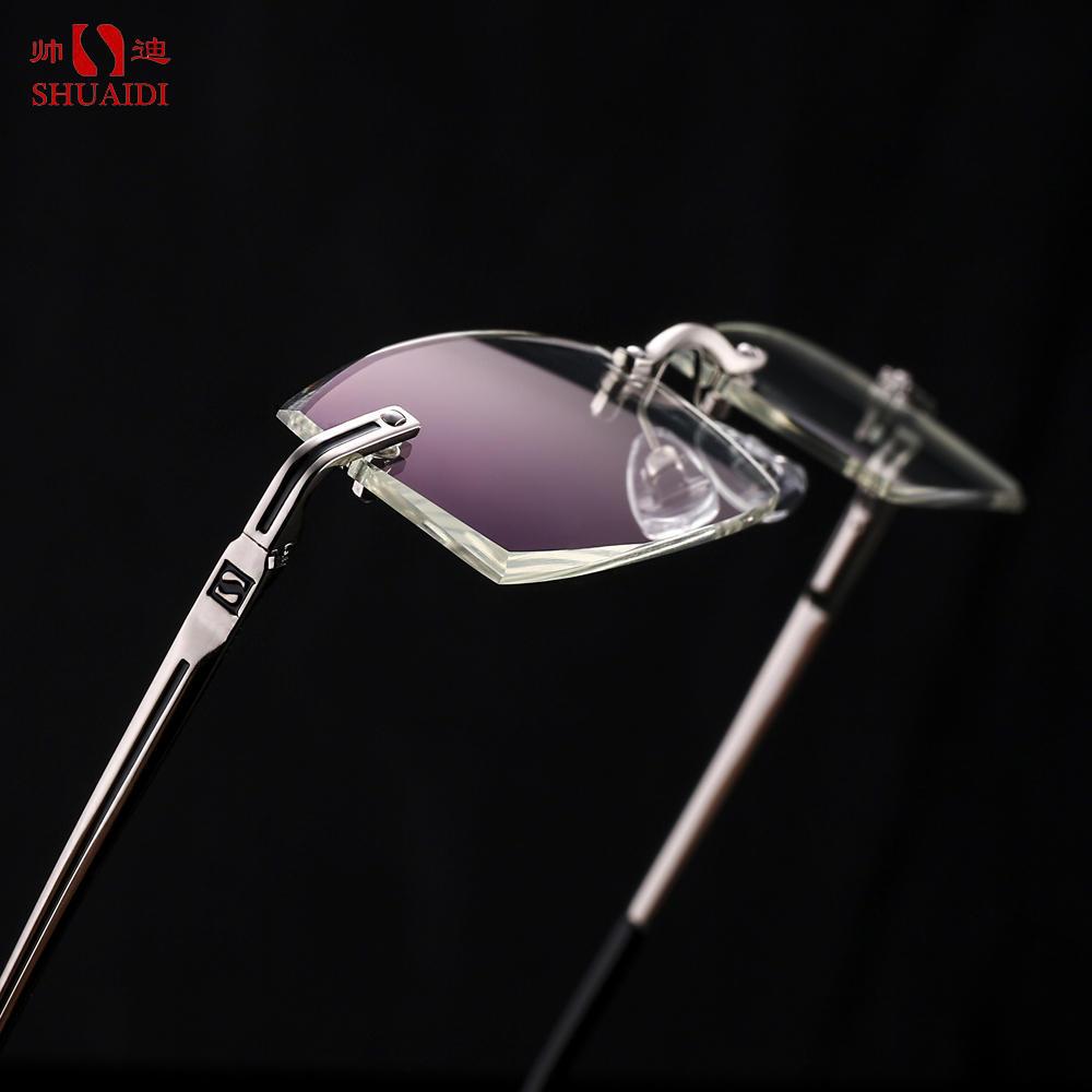 SHUAIDI® الرجال النظارات بدون شفة مكافحة الأشعة الزرقاء الإشعاع الكمبيوتر الضوئية الراتنج واضح شفاف عدسة النظارات بدون إطار مع حالة