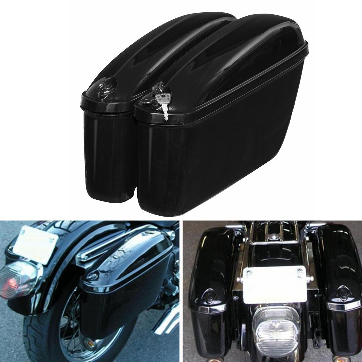 22L Black Motorcycle Side Hard Saddle Bags Saddlebags Trunk With Bracket For Honda/Harley Touring COD