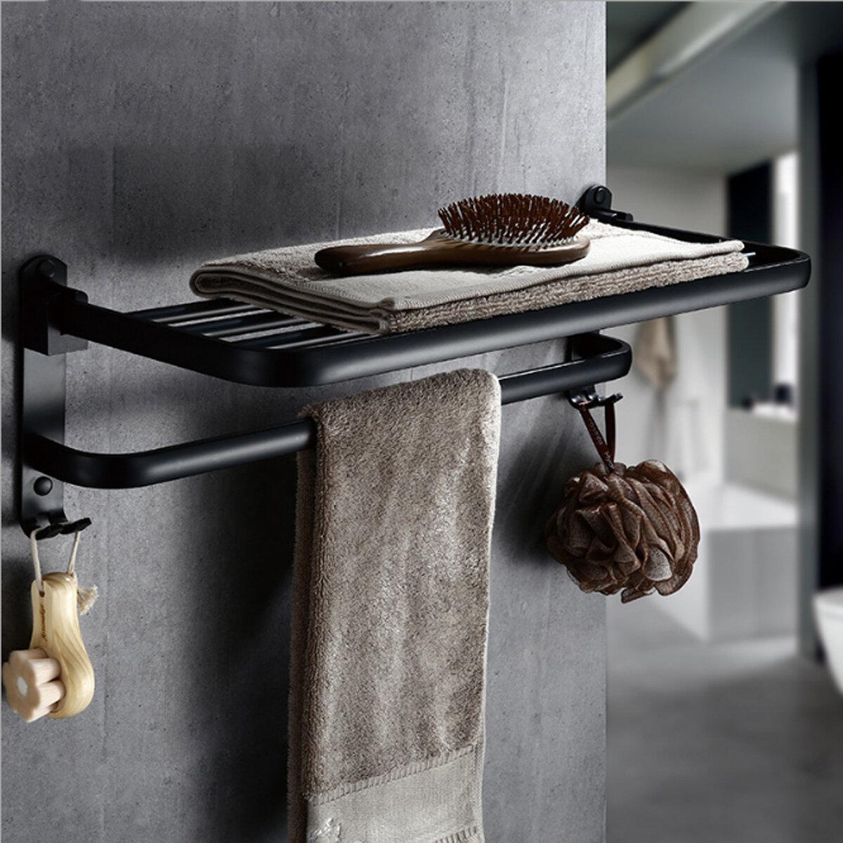 Foldable Vintage Towel Rack Black Brief Aluminum Folding Holder Double Bath Shelves Rail