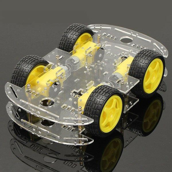 Geekcreit® 4WDe Robot Intelligent Auto Kit di Telaio con Magneto Forte Velocità di Codificatore per Arduino 51
