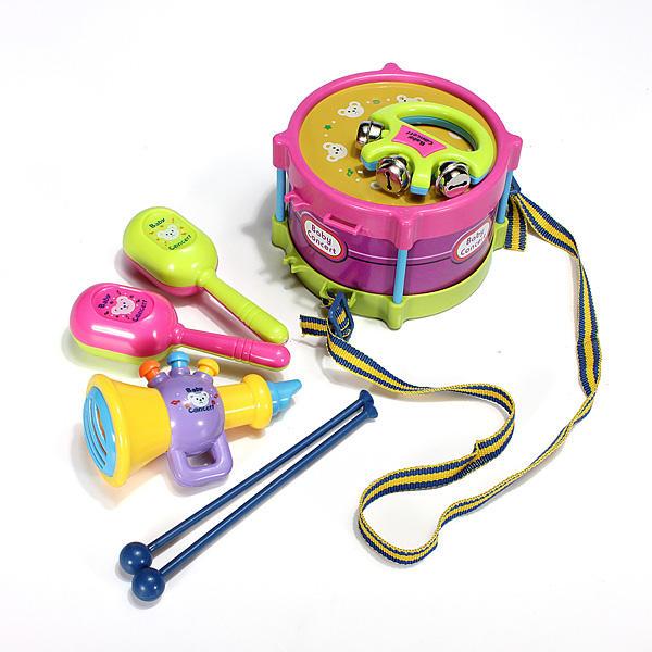 5pcs 아기 롤 드럼 악기 어린이 드럼 세트 어린이 장난감