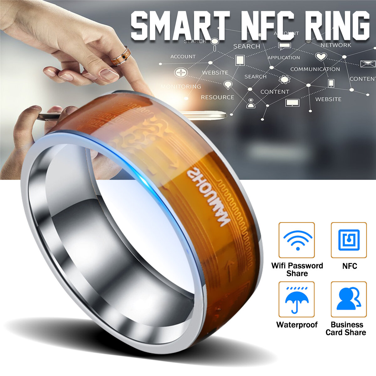 NFC multifunktionale wasserdichte intelligente Ringe Finger Digital Smart Ring
