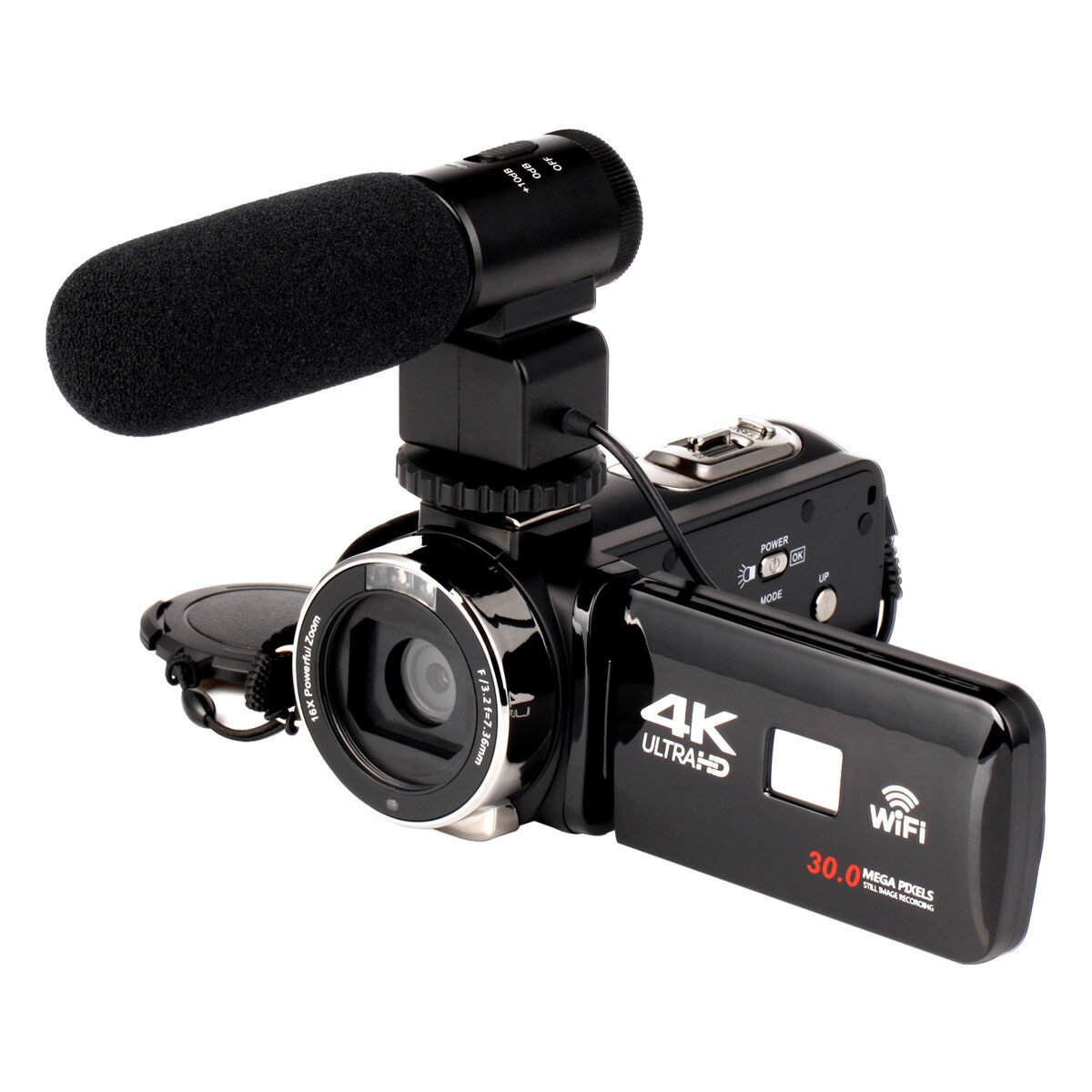4K WiFi Ultra HD 1080P 16X ZOOM Digital Video Cámara Videocámara DV con Lente y Micrófono