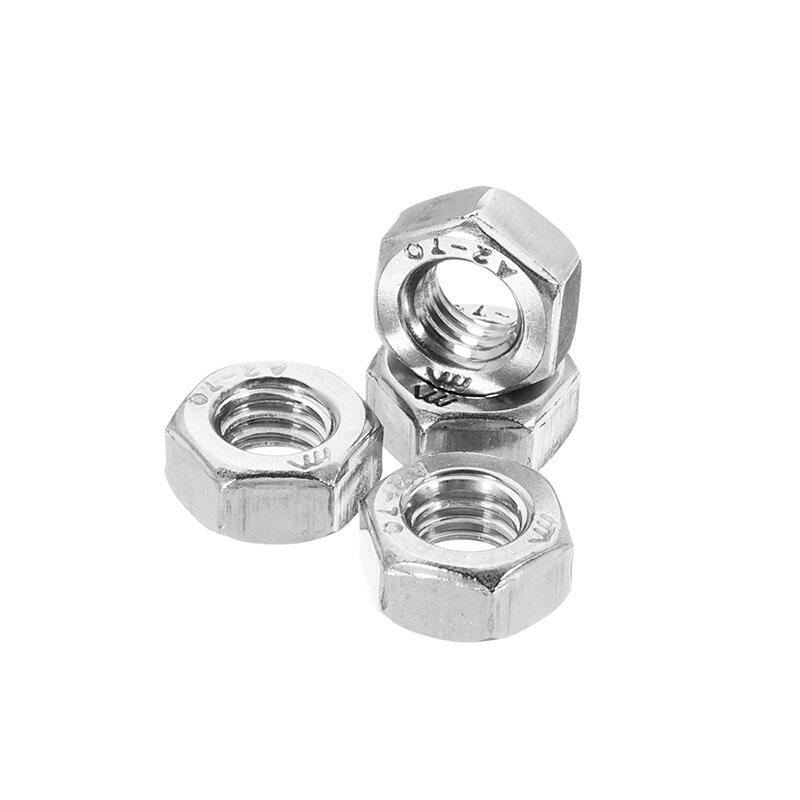 Suleve ™ MXSN1 50Pcs acier inoxydable métrique pas grossier filetage vis à tête hexagonale écrous M2 M3 M4 M5 M6