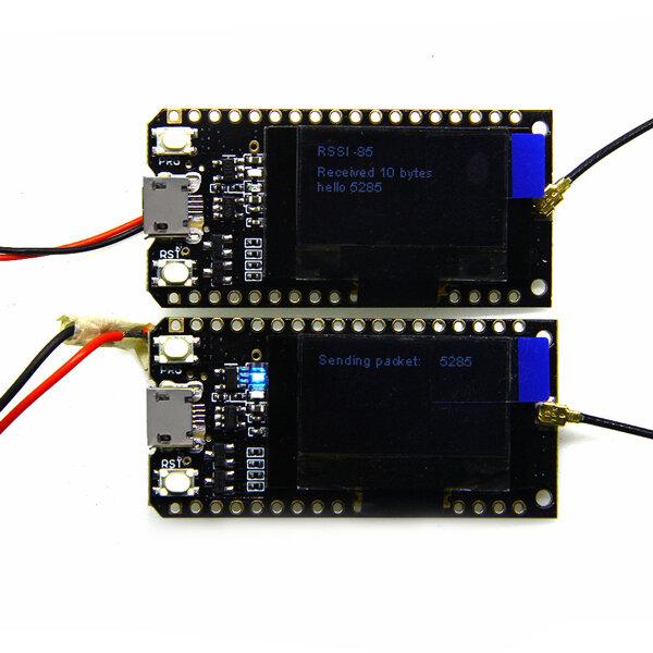 2Pcs Wemos® TTGO LORA32 868/915Mhz ESP32 LoRa OLED 0.96 Inch Blue Display Bluetooth WIFI ESP-32 Development Board Module With Antenna