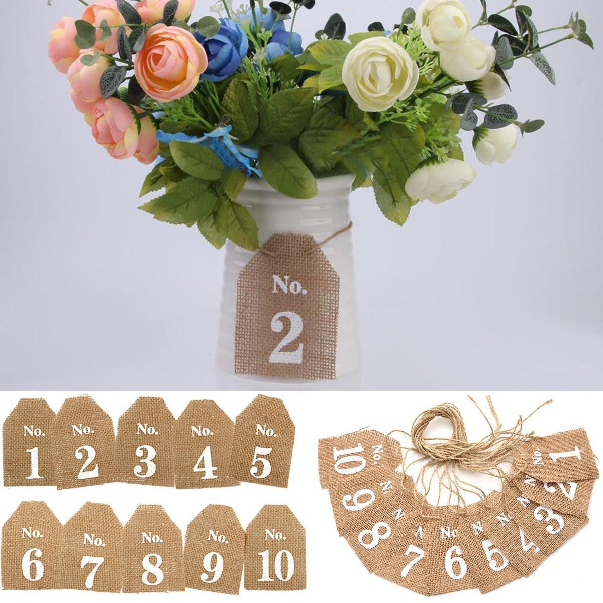 1-10 arpillera de yute arpillera bandera signos de mesa mesa de boda números decoración