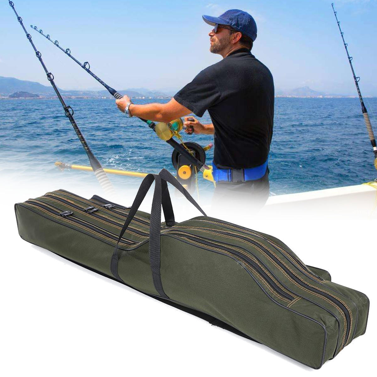1 2m 3m Portable Folding Fishing Rod Bag Fish Pole Tools Storage Holdall