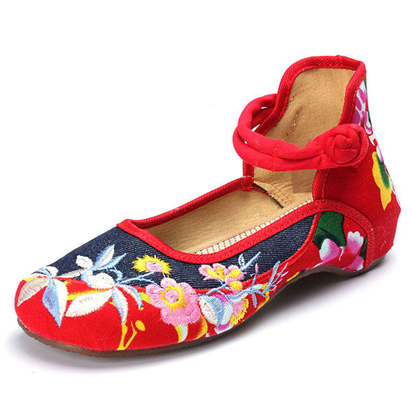 142dc85c418 women chinese embroidered flower flat shoes ladies mary janes cotton ballet  loafers at Banggood sold out
