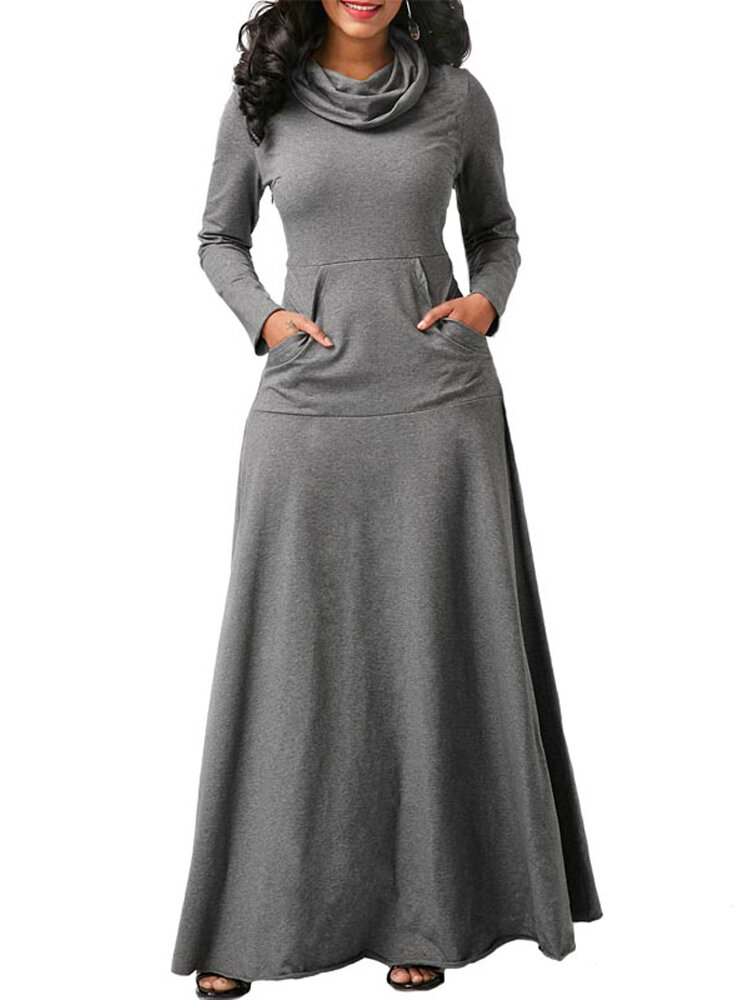Casual Women Turtleneck Big Pocket Loose Maxi Dress