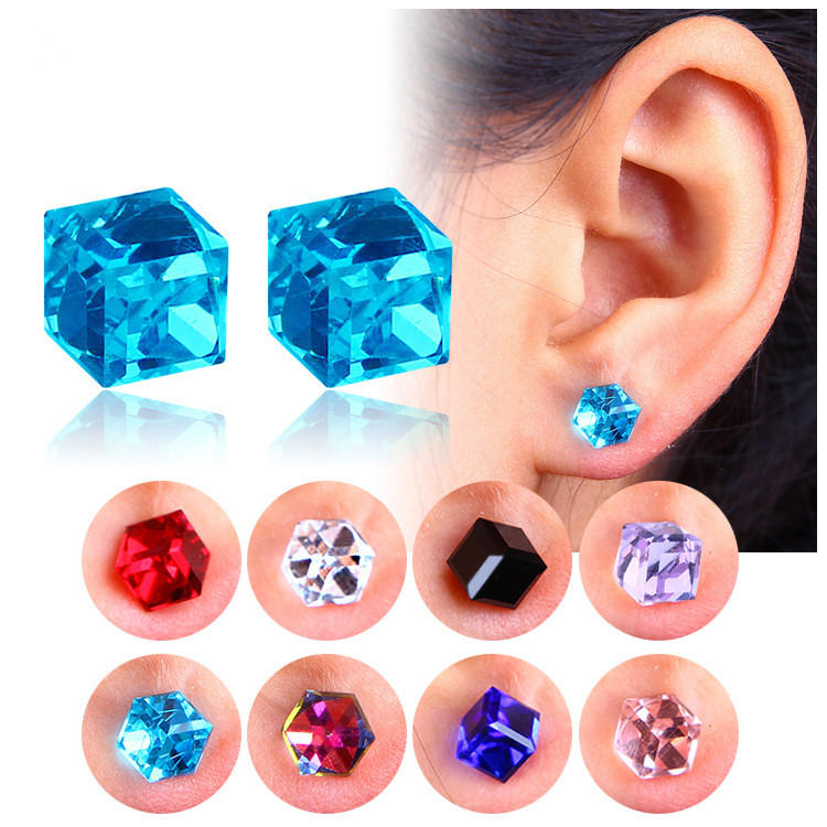 Creativo Unisex Cubic Crystal Magnetic Clip Orecchino Fashion Magnet No Piercing Colorful Orecchini