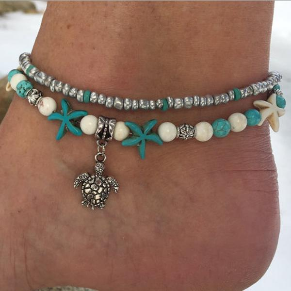Conch Beads Yoga Anklet Beach Turtle Pendant Moon Heart Pearl Crystal Beads