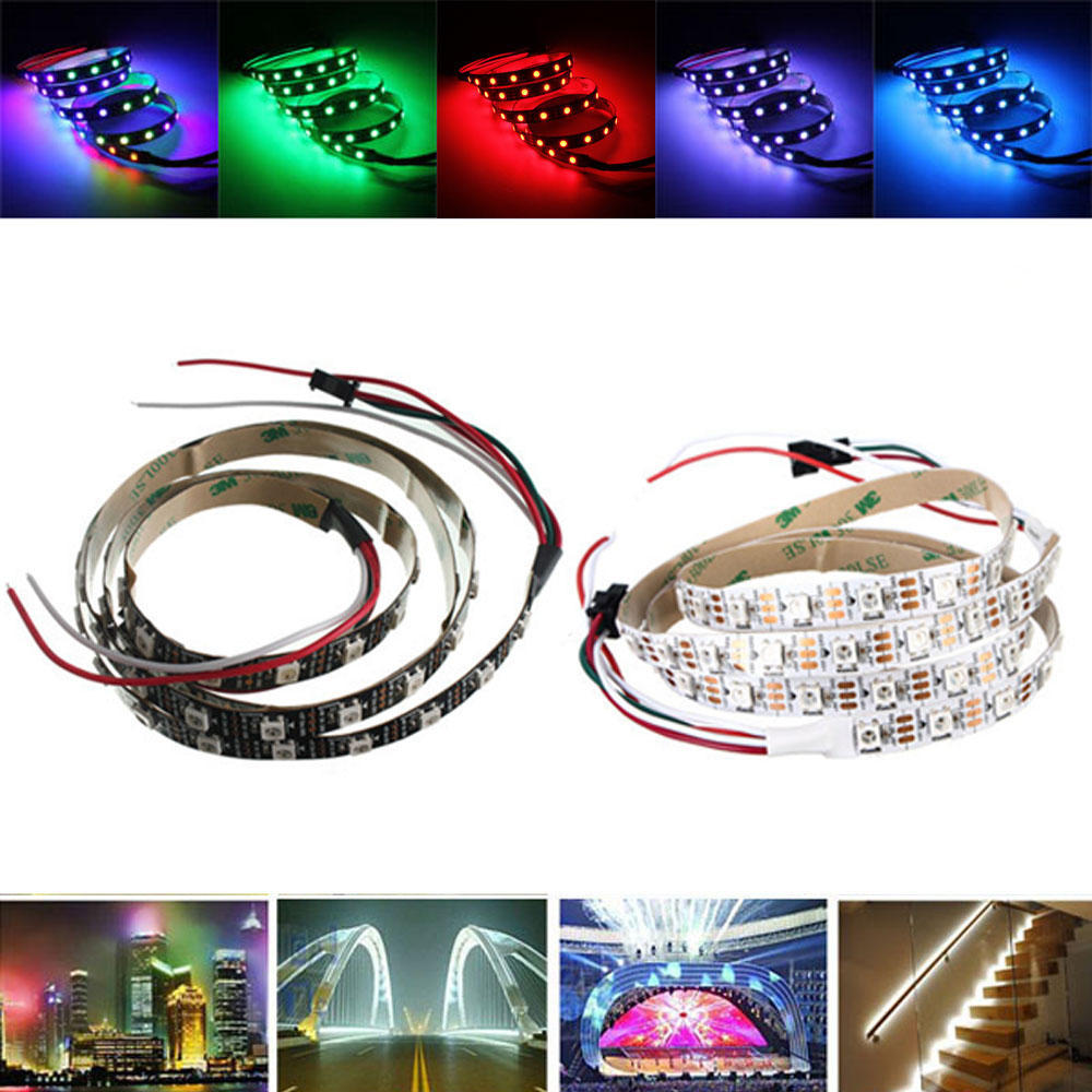 1M WS2812 IC SMD5050 Waterproof Dream Color RGB LED Strip Light Lamp ...