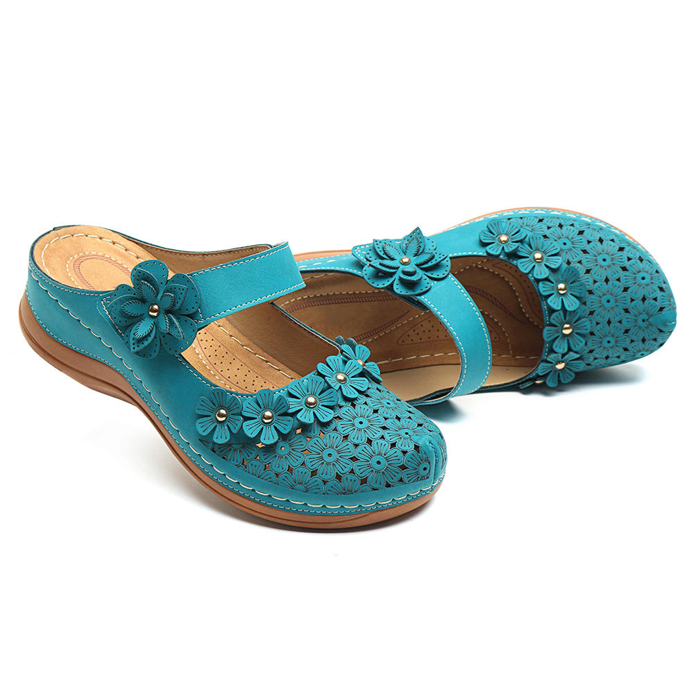 69ff423faef9e lostisy flowers pattern hollow out soft sole sandals at Banggood