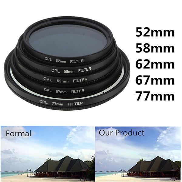52mm-77mm Phot رقمي Slim CPL Circular Polarizer Polarizing Polarizing Polarizing Lens Filter Canon Nikon Sony