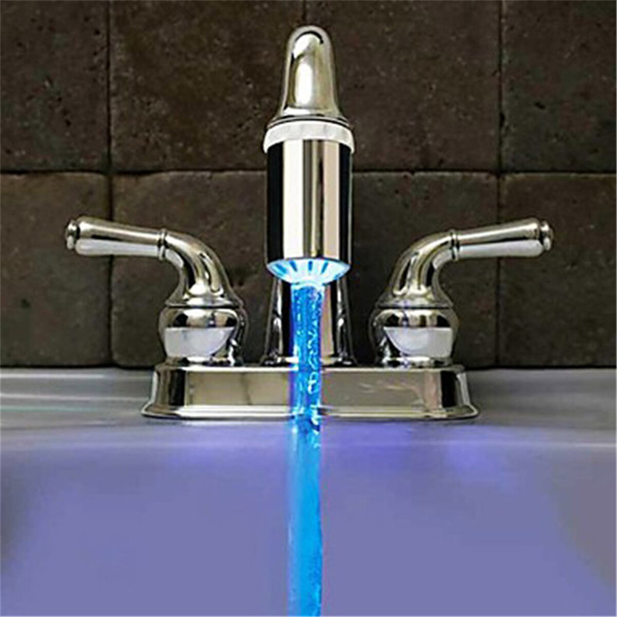 Professional Sale 3 Color Led Light Change Faucet Shower Water Tap Temperature Sensor No Battery Water Faucet Glow Bathroom Shower Faucet Home Appliance Parts Water Filter Parts