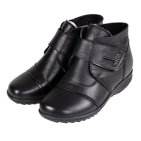 جلد طبيعي المرأة القطن الأحذية الدفء عارضة الكاحل