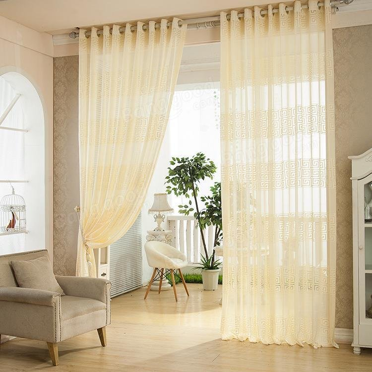 2 Panel European Style Jacquard Breathable Voile Sheer