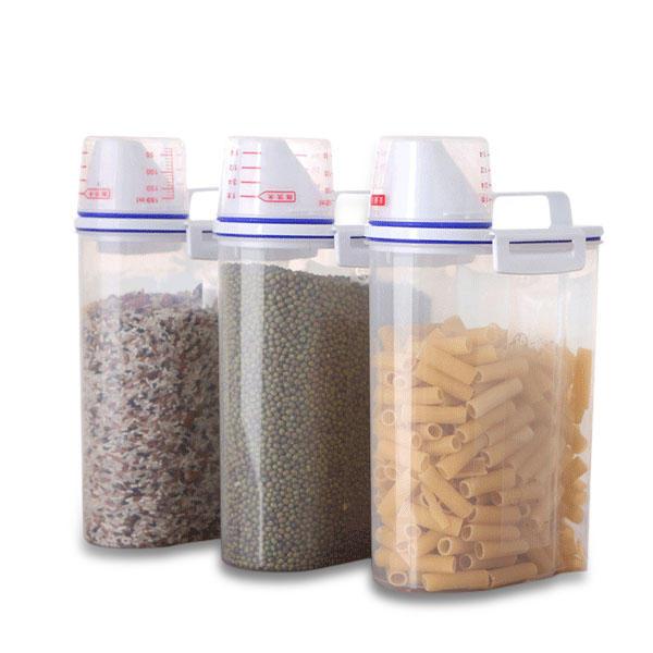 주방 음식 시리얼 곡물 콩 쌀 손으로 측정 컵 플라스틱 저장 용기