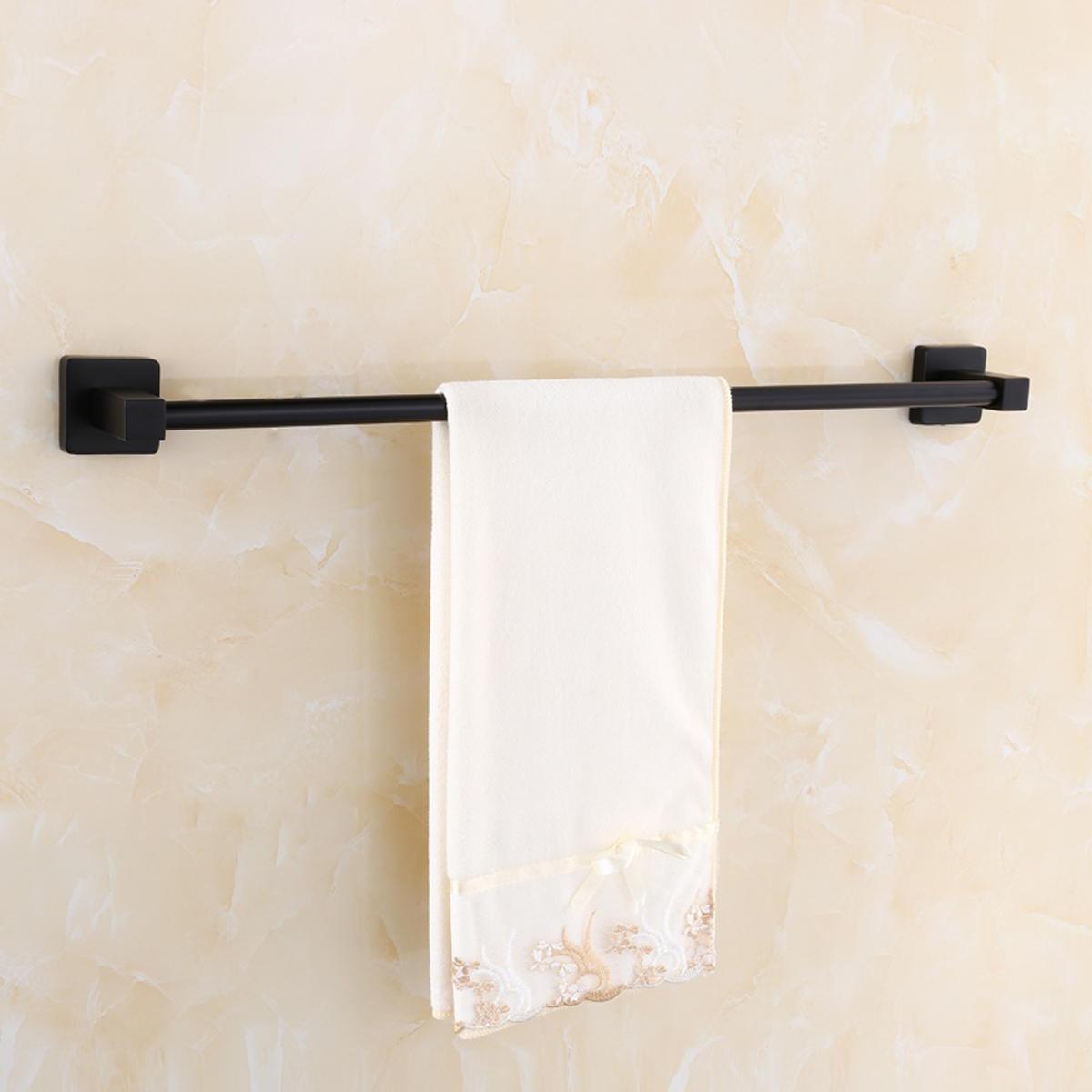 Matt Black Square Toalla Holder Rack Cuarto de baño Shower Toilet Wall Mount Clothes Bar Rail Percha