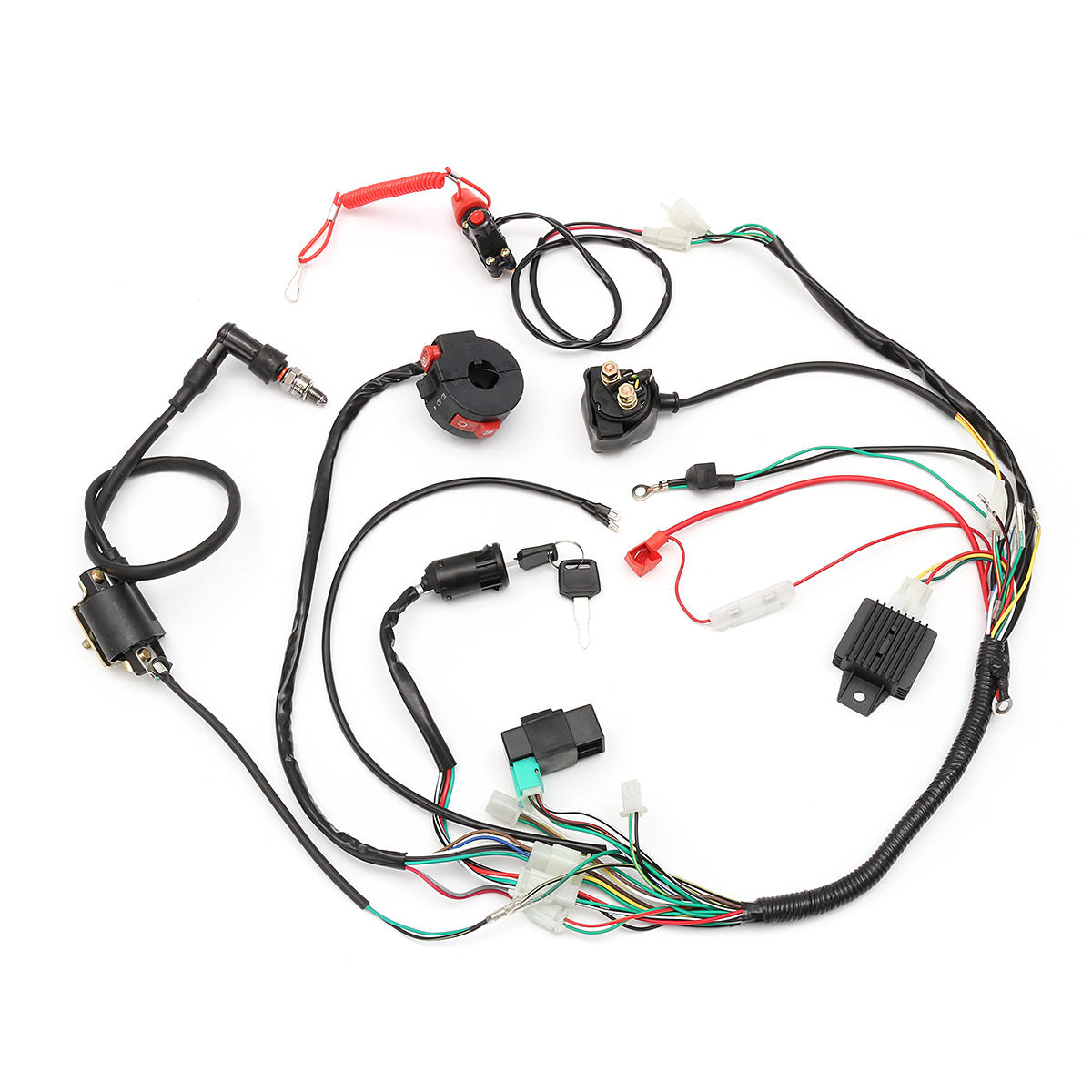 50//110//125CC ATV Quad Full Electric CDI Coid Rectifier Wiring Harness Wire Loom