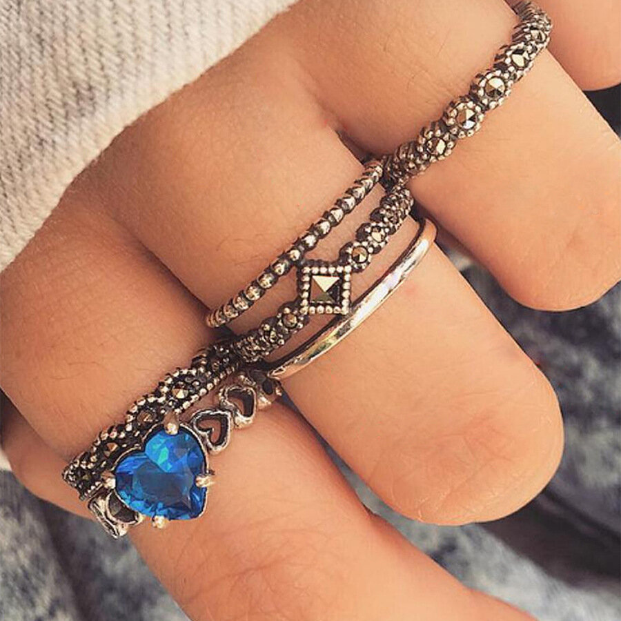 6 Pcs/Set Ethnic Antique Silver Rhinestone Heart Shape Finger Ring Geometry Knuckle Ring for Women