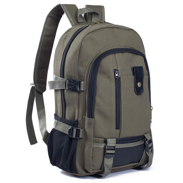 "Men Outdoor Trendy Canvas Travel Backpack Casual Rucksack Fits 14"" Laptop"