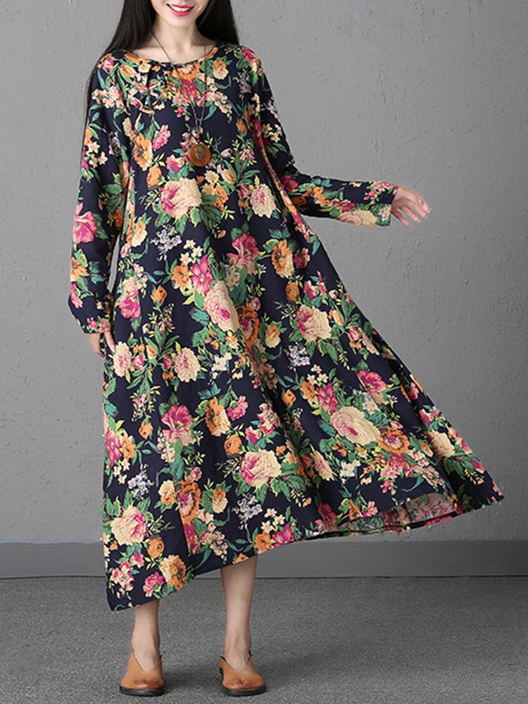 เสื้อแขนยาวคอวีลายดอกไม้
