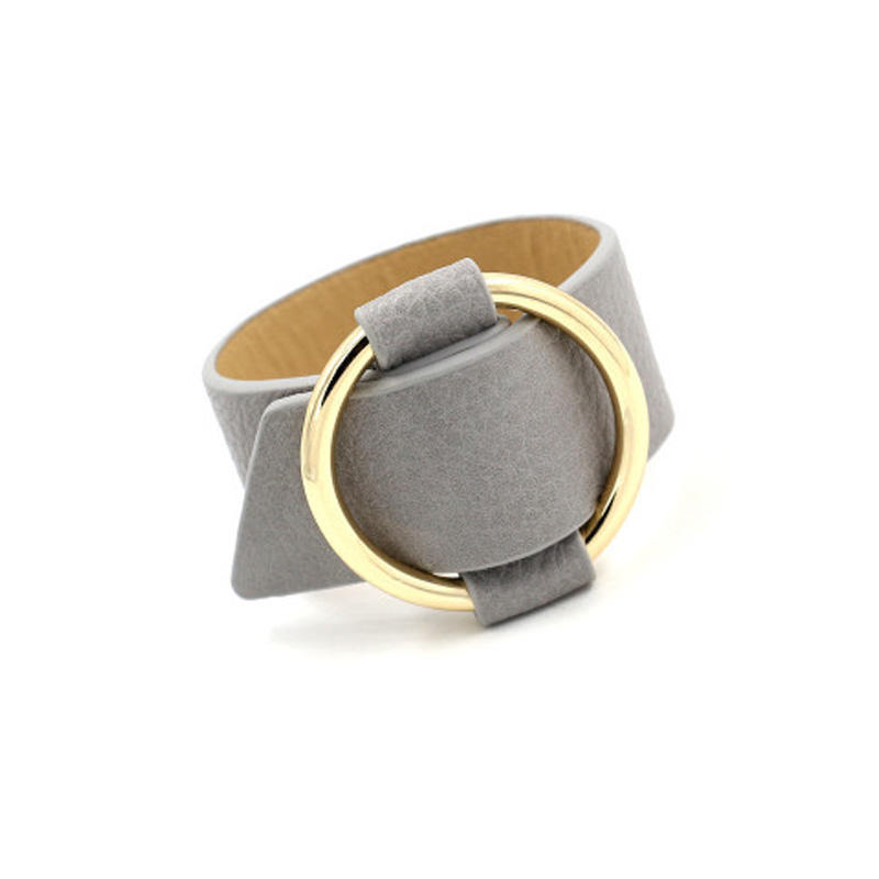 Trendy PU Leather Alloy Circle Bracelet For Women