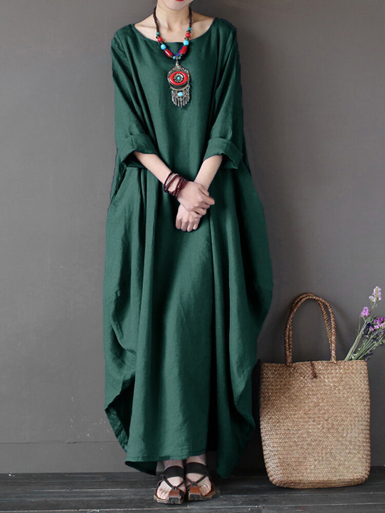 b957f8188cd L-5XL Casual Women Loose Pure Color Baggy 3 4 Sleeve Maxi Dress