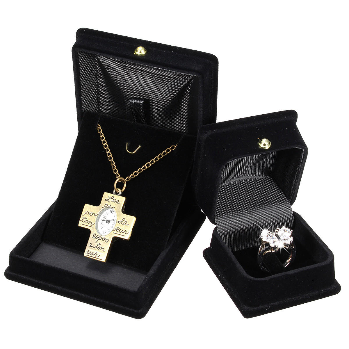 Black Velvet Square Ring Necklace Chain Jewelry Storage Gift Box
