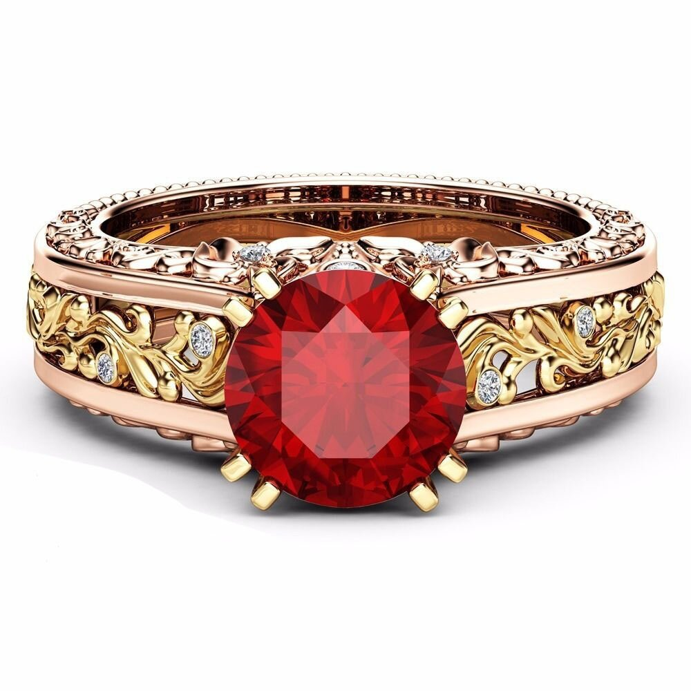Elegant Rose Gold Pattern Hollow Copper Zircon Ring Valentine's Day Gift for Women