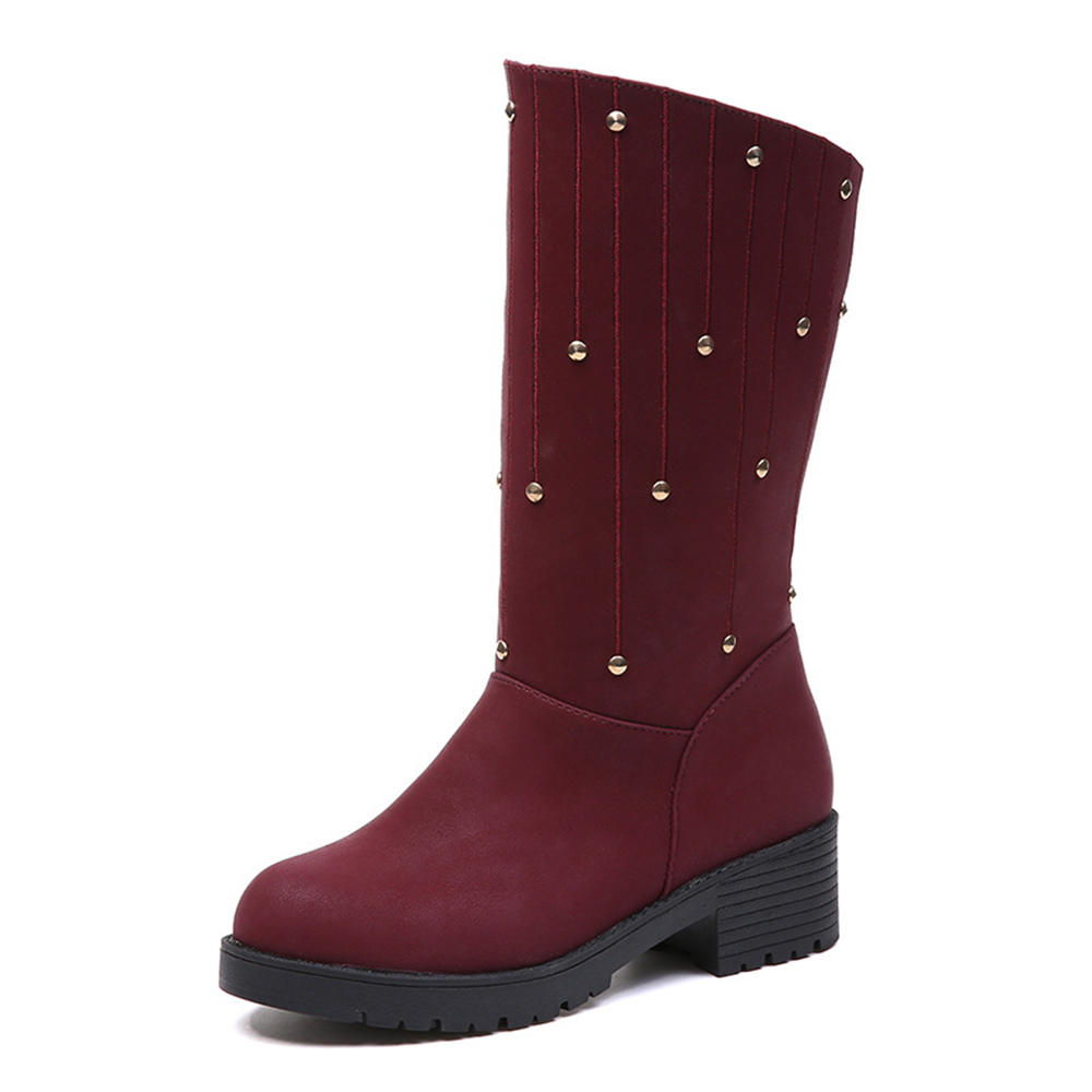 ab7a0f173ba6 women winter boots warm fur snow rivet ankle boots at Banggood sold out