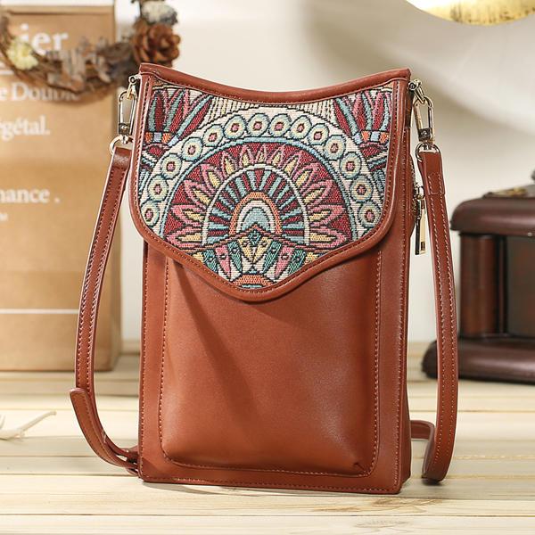 Brenice البوهيمي نمط ريترو قماش الأزهار الطباعة النساء حقيبة الهاتف الكتف حقيبة كروسبودي