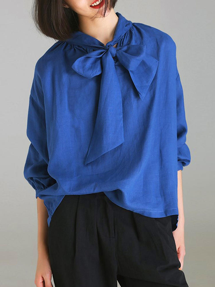 9b1073e3164 Casual Women Solid V-Neck Loose Bow-knot Long Sleeve Blouse - Blue 6 COD