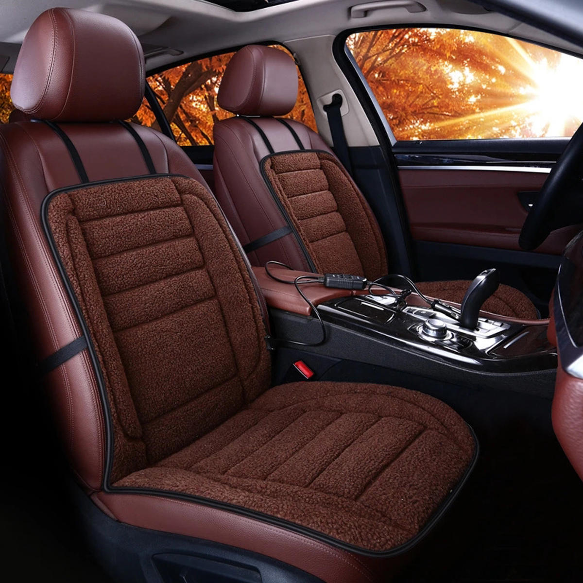 12v Car Van Front Seat Heated Cushion Warmer Winter Household Cover Electric Heating Mat Brown Cod