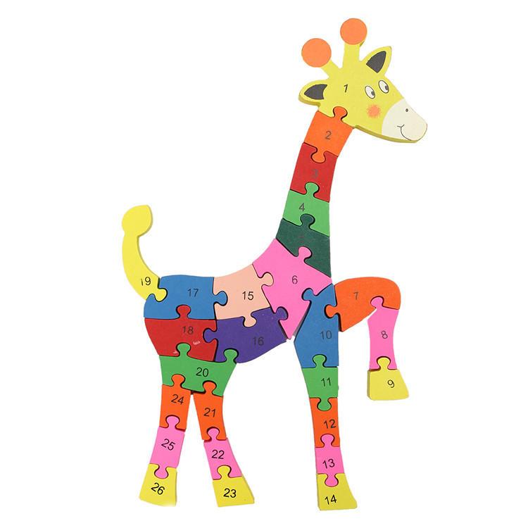 madera jirafa patrón rompecabezas rompecabezas alfabeto letra número ...