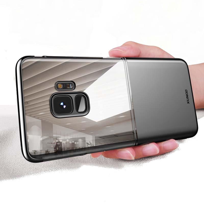 Xundd İki renkler HD Temizle Kaplama Sert PC Koruyucu Kılıf Samsung Galaxy S9/S9 Plus için