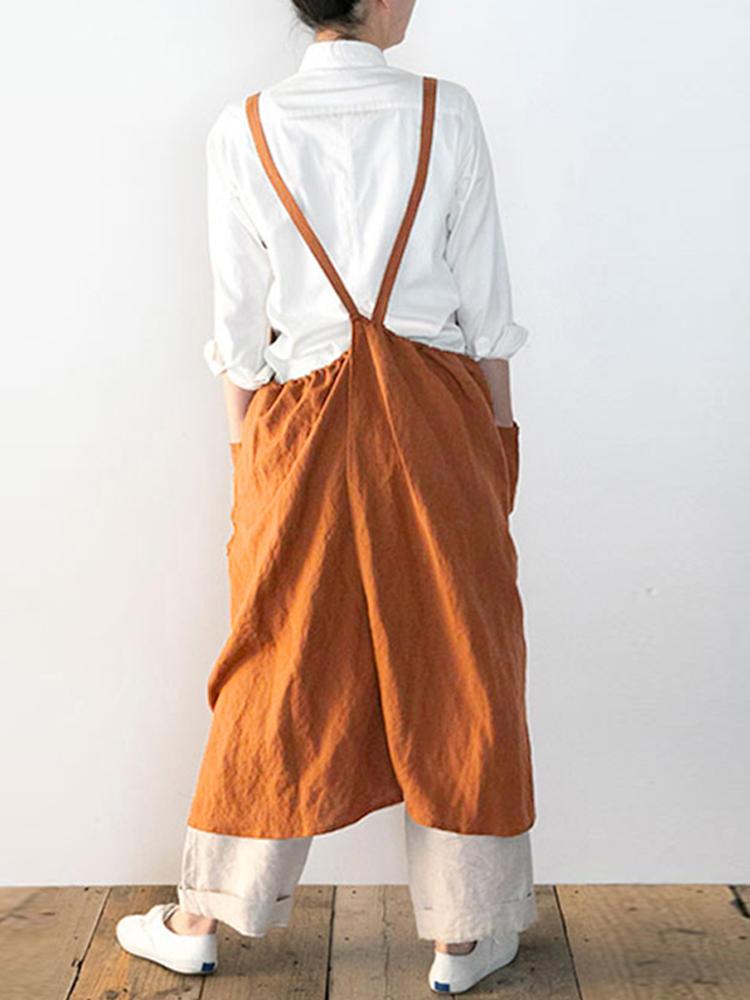 Delantal sin mangas con correas japonesas sin mangas de algodón Vestido con bolsillos