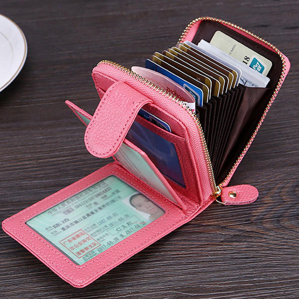 Men Women RFID Genuine Leather Wallet Multifunction Purse with 10 Card Slots