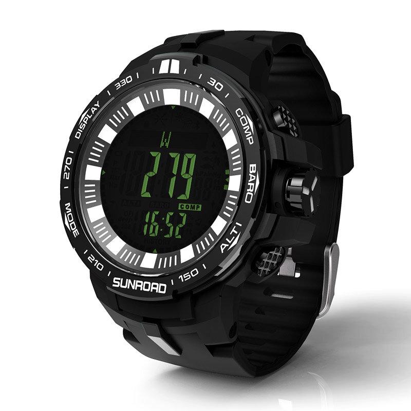 SUNROAD FR861 Relógio Digital de Pesca Caminhadas Bússola Barômetro À Prova D 'Água Esporte Ao Ar Livre Dos Homens Relógio