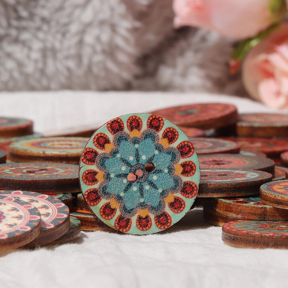 Mixte Vintage Couleurful Ronde Fleur En Bois Boutons Scrapbooking Artisanat À La Main Décoration De La Maison Fournitures De Couture