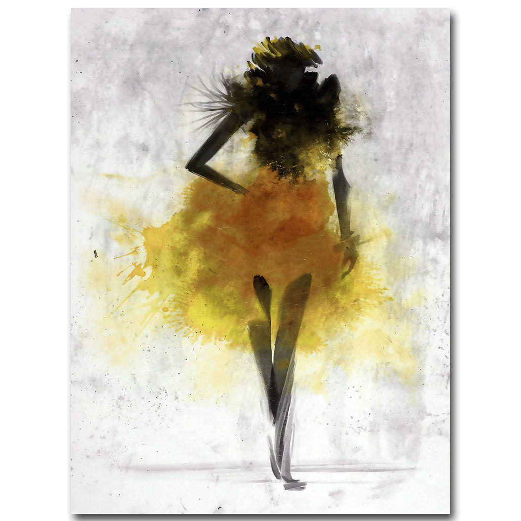 fashion yellow girl minimalist abstract art canvas oil ...Yellow Abstract Painting