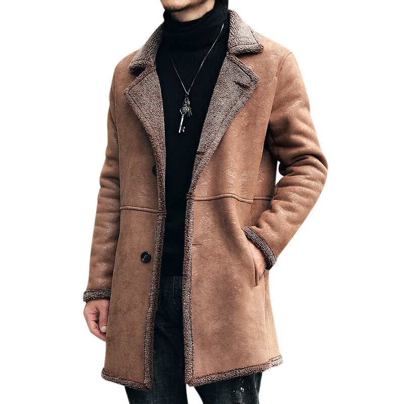 aebde576358 Mens Mid Long Winter Faux Chamois Leather Lamb Fur Trench Coat Thick Warm  Suede Jacket COD