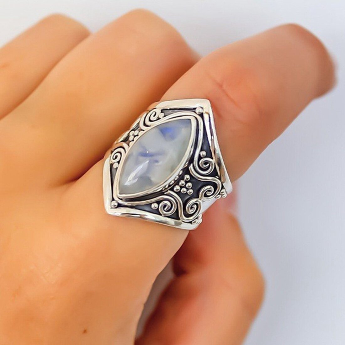 Ethnic Moonstone Finger Ring Vintage Finger Rings Accessories Gift Jewelry for Women