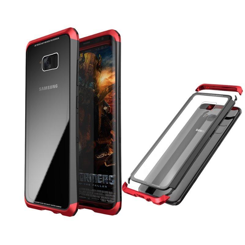 루피 메탈 범퍼 + 삼성 갤럭시 S8 플러스 용 9H 강화 유리 뒤덮 개 케이스